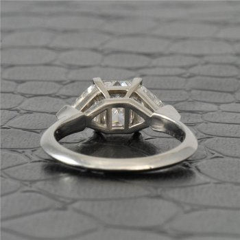 1.51 Carat Princess Cut Diamond Engagement Ring With Trillion Cut Diamond Accents