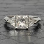 Perry's Estate Collection 1.51 Carat Princess Cut Diamond Engagement Ring With Trillion Cut Diamond Accents