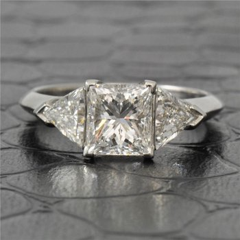 1.51 Carat Princess Cut Diamond Engagement Ring With Trillion Cut Diamond Accents