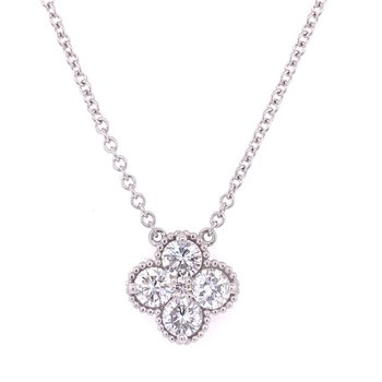 Diamond Quatrefoil Necklace in White Gold
