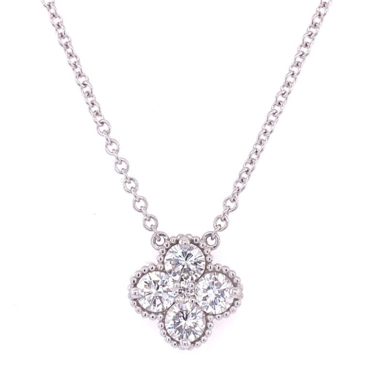 Perry's Estate Collection Diamond Quatrefoil Necklace in White Gold