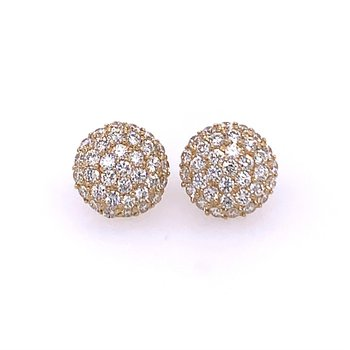 Diamond Cluster Earrings in Yellow Gold
