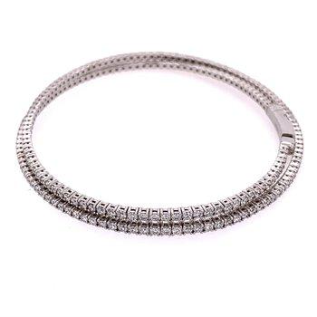 Flexible 3.20 CTW, Diamond Bangle Bracelet in 18k White Gold