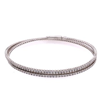 Flexible 3.20 CTW, Diamond Bangle Bracelet in 18k White Gold