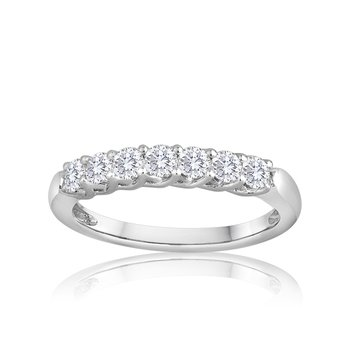Platinum 1.0 CTW Seven Diamond Wedding Band