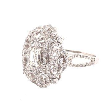 Emerald Cut Diamond Scroll Ring in White Gold