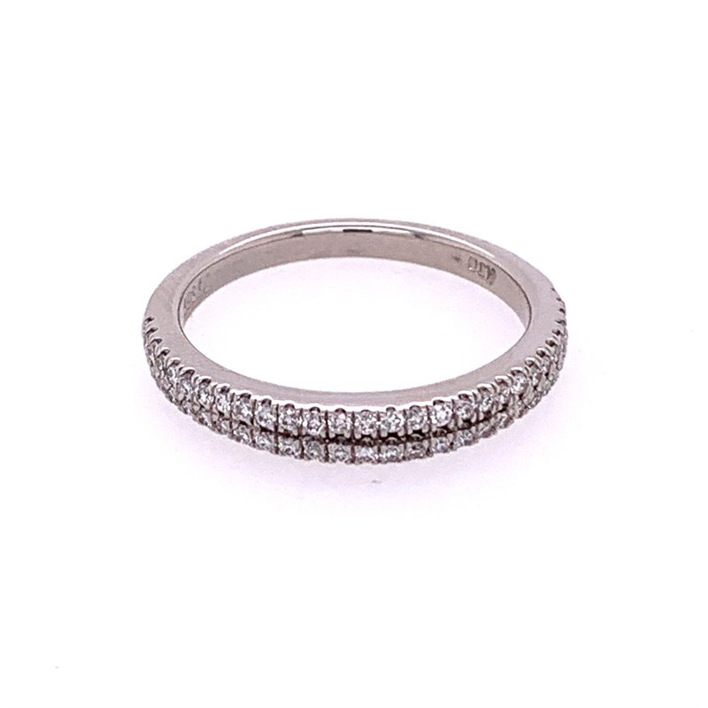 American Jewelry Designs Double Row Diamond Wedding Band in Platinum