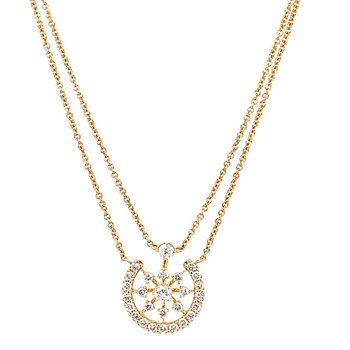 Circular Diamond Necklace in Yellow Gold