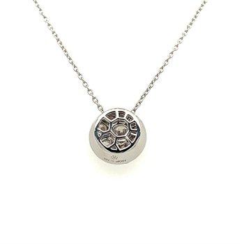 Diamond Circle Pendant Necklace in White Gold