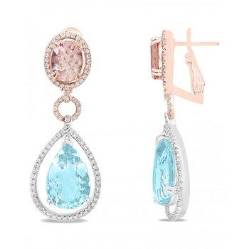 Aquamarine and Morganite Drop Earrings in Two Tone Gold