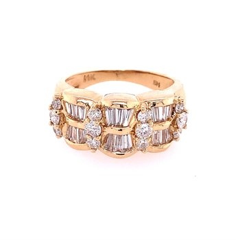 Baguette and Round Cut Diamond Band in Yellow Gold