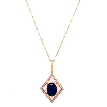 Openwork Sapphire and Diamond Pendant in Yellow Gold