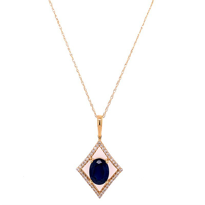 Royal Jewelry Openwork Sapphire and Diamond Pendant in Yellow Gold