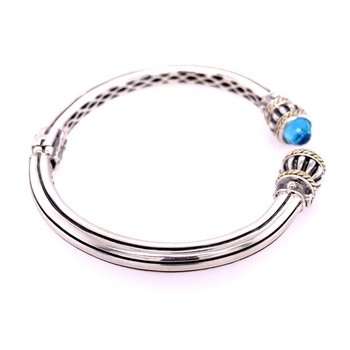 Blue Topaz Bangle Bracelet in Sterling Silver