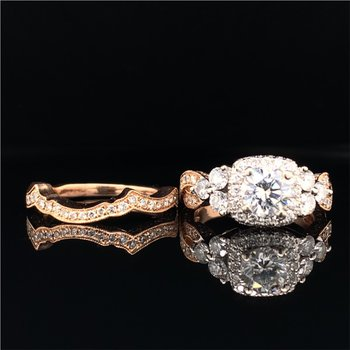 0.65 Carat Round Brilliant Cut Diamond Engagement Ring with Matching Band