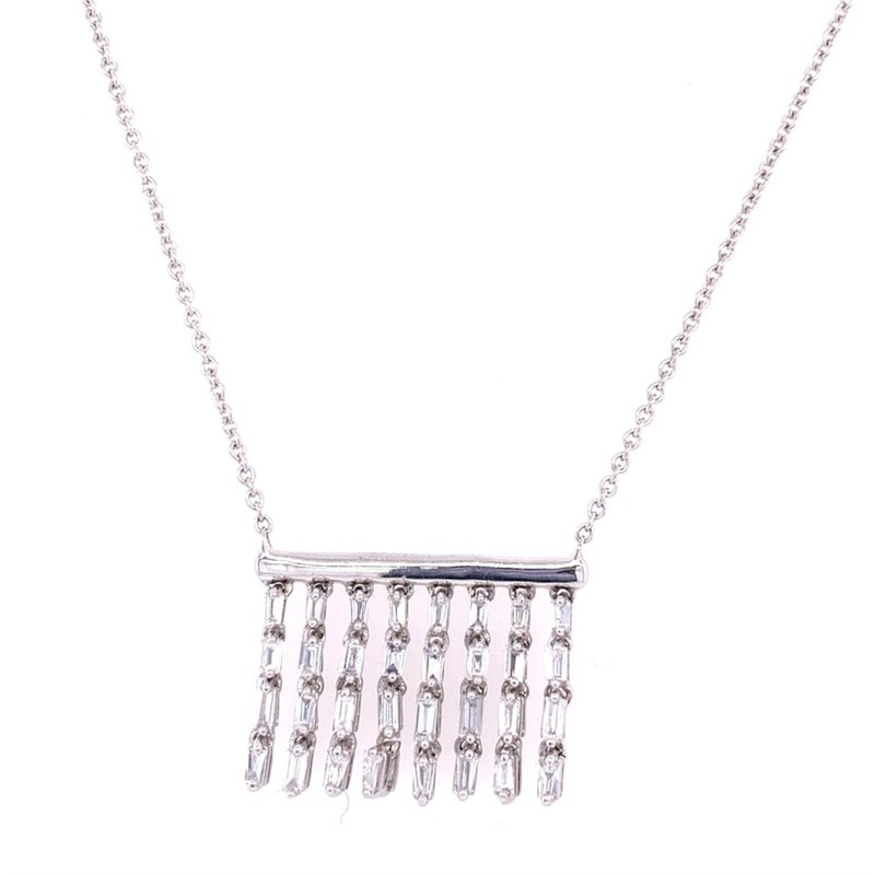 Royal Jewelry Dangle Diamond Pendant in White Gold
