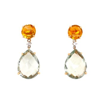 Green Amethyst and Citrine Dangle Earrings in Yellow Gold