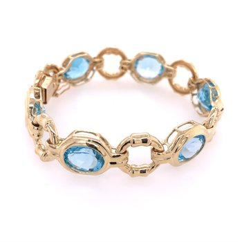 Blue Topaz Bracelet in Yellow Gold