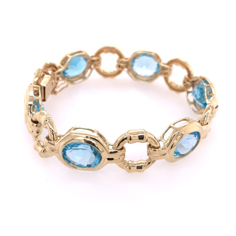 Perry's Estate Collection Blue Topaz Bracelet in Yellow Gold