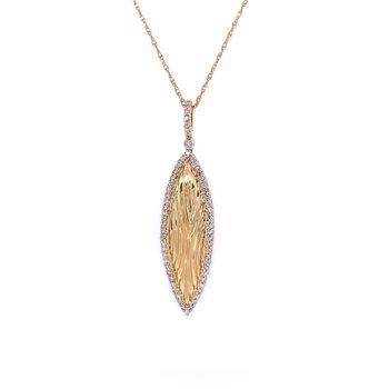 Diamond Leaf Pendant in Yellow Gold