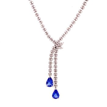 Tanzanite and Diamond Lavalier Style Necklace in White Gold