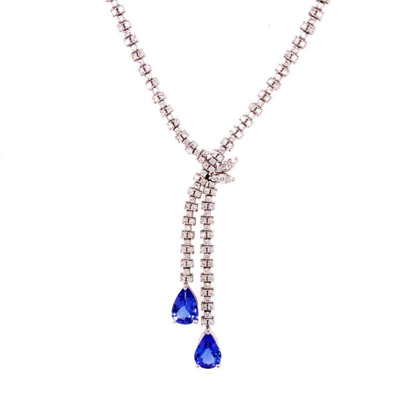 Ryan Gems Tanzanite and Diamond Lavalier Style Necklace in White Gold