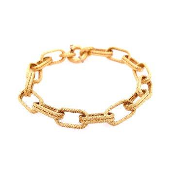 Oblong Hollow Link Bracelet in 18k Gold