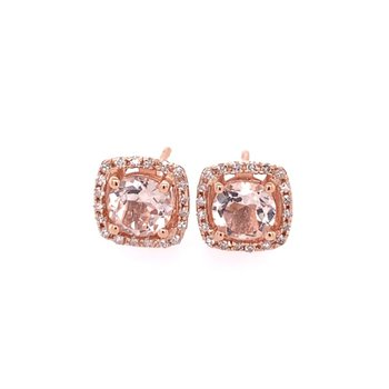 Morganite and Diamond Stud Earrings in Rose Gold