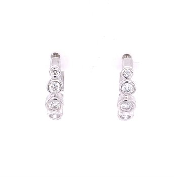 Diamond Huggie Style Earrings in White Gold