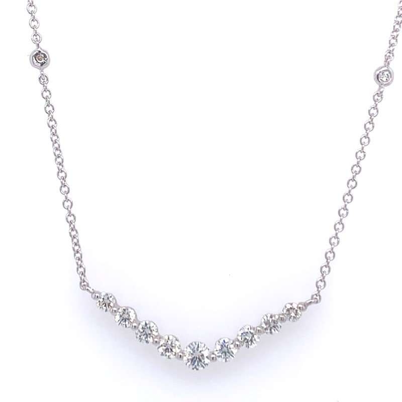 Effy Curved Diamond Bar Necklace in White Gold