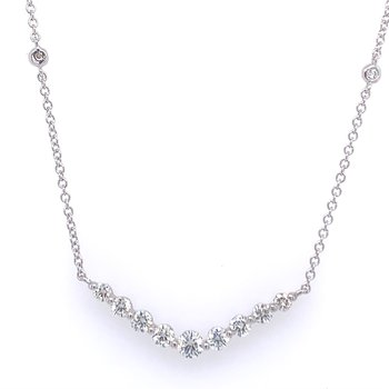 Curved Diamond Bar Necklace in White Gold