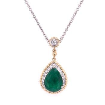 Two Tone Emerald and Diamond Pendant