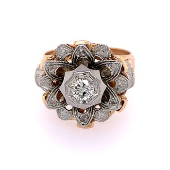 Vintage 1950s Two Tone Diamond Starburst Ring in 18k Gold