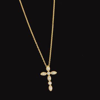 Diamond Cross Pendant in Yellow Gold