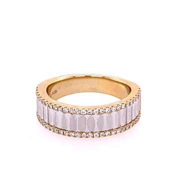 Two Tone Faceted Diamond Band
