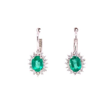 Emerald and Diamond Earrings White Gold