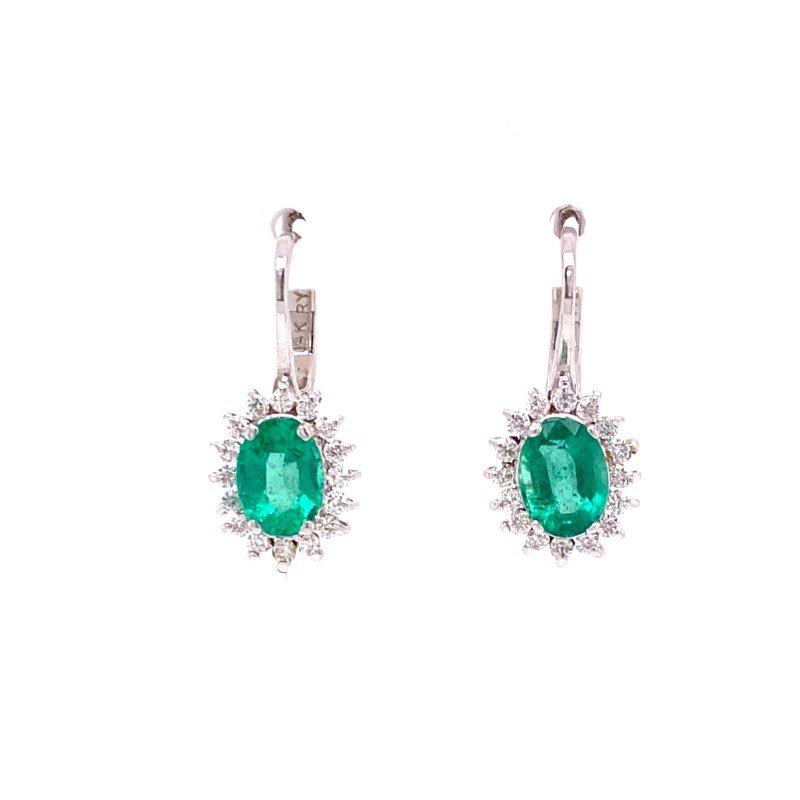 Ryan Gems Emerald and Diamond Earrings White Gold