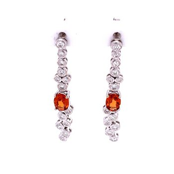 Spessartite Garnet and Diamond Earrings in White Gold