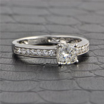 .81 Carat E-SI2 Cushion Cut Diamond Engagement Ring in 18k White Gold