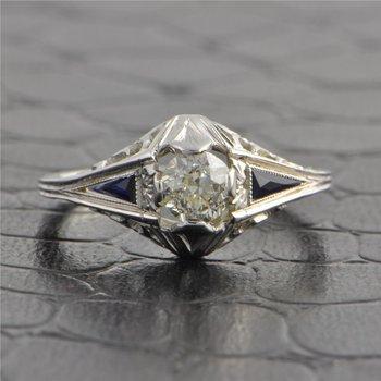 Vintage 1930s Art Deco .52 Carat Old European Cut Diamond Engagement Ring