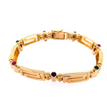 Greek Key Bracelet with Emeralds, Rubies, and Sapphires