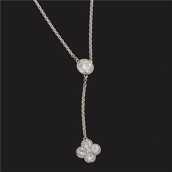 """Y"" Style Necklace with Diamond Clover Drop"