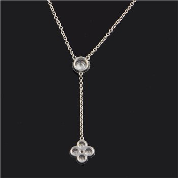 """""""Y"""" Style Necklace with Diamond Clover Drop"""