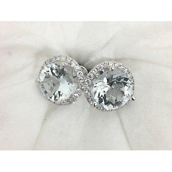 Aquamarine and Diamond Stud Earrings