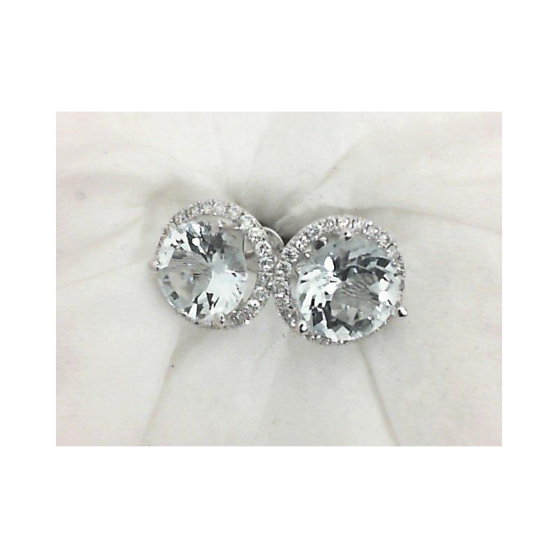 Royal Jewelry Aquamarine and Diamond Stud Earrings