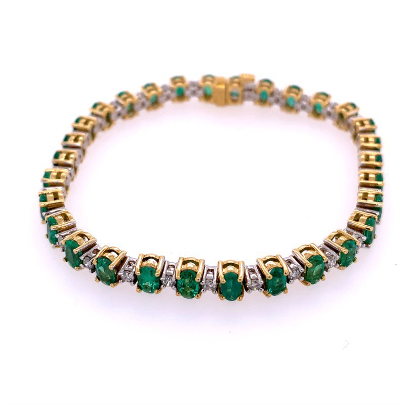 Kattan Emerald and Diamond Bracelet in Yellow Gold