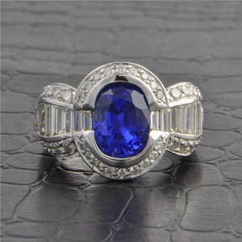 4.0 ct. Sapphire and Diamond Ring in 18k White Gold