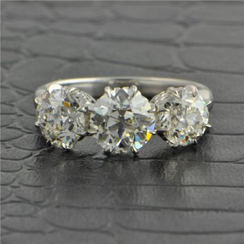 Antique Three Stone Old European Cut Diamond Engagement Ring in Platinum