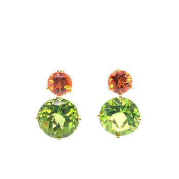 20 Carat Peridot and Spessartine Earrings in 18K Yellow Gold
