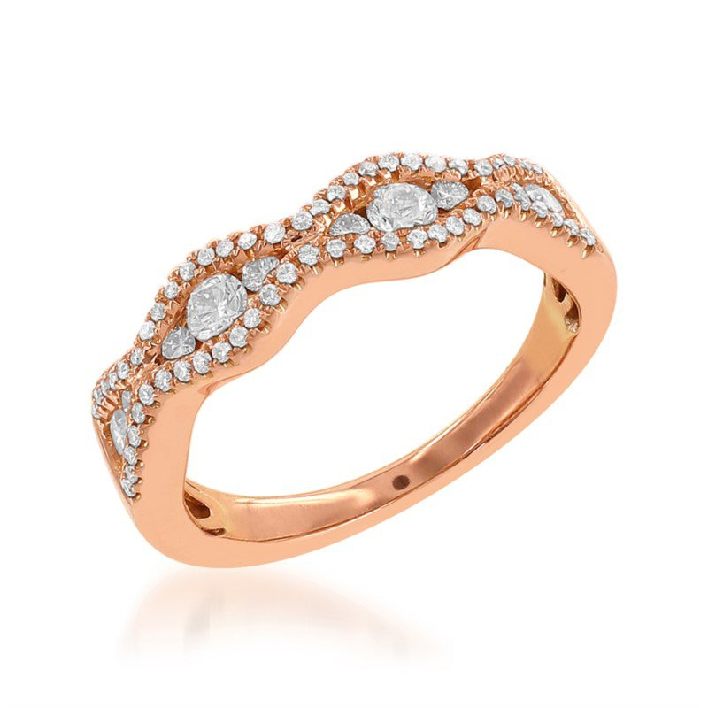Jewels By Jacob Diamond Wedding Band in Rose Gold